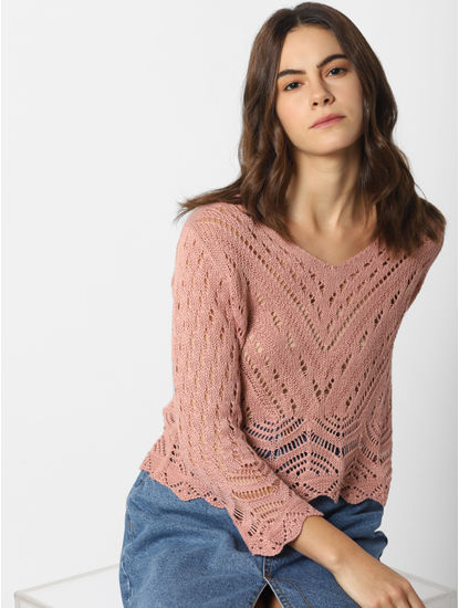 Beige Crochet Cropped Pullover