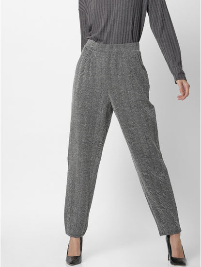 Dark Grey High Waist Regular Fit Trousers