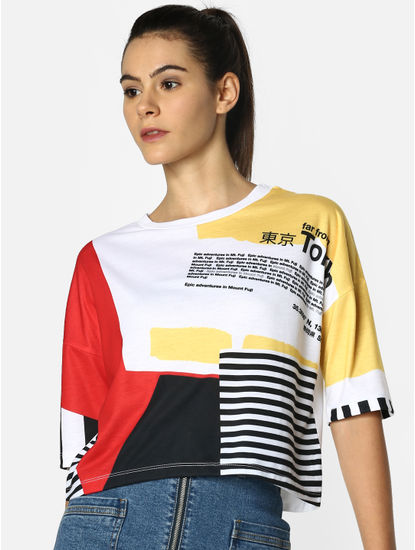 White Colourblocked Text Print Box T-Shirt