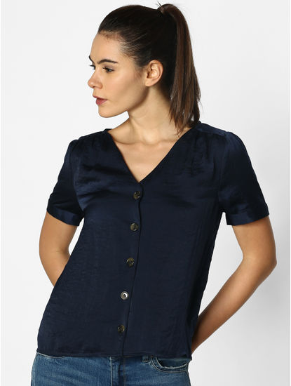 Navy Blue Satin Top