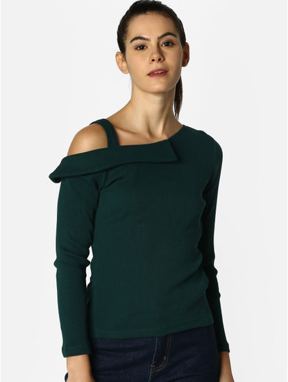 Dark Green One Shoulder Top