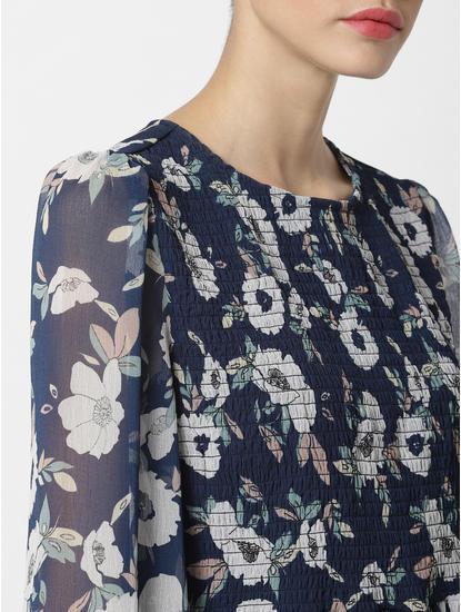 Blue Floral Print Fit & Flare Dress