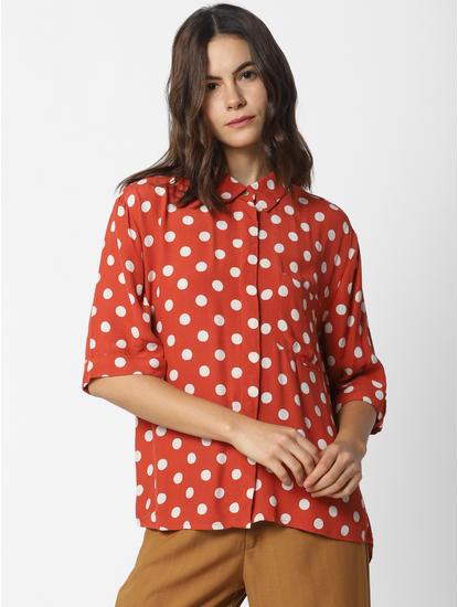Red Polka Dot Print Shirt