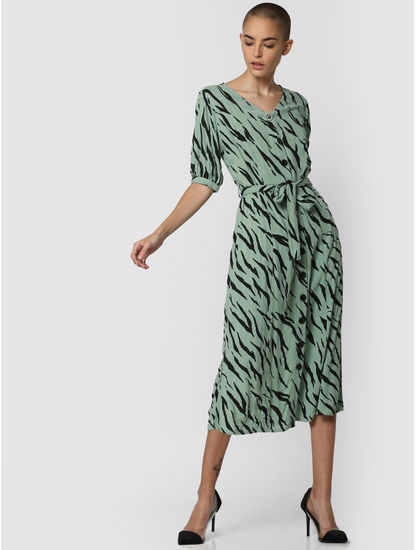 Green All Over Print Midi Dress