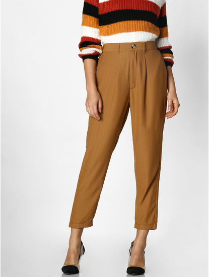 Brown Mid Rise Relaxed Fit Pants