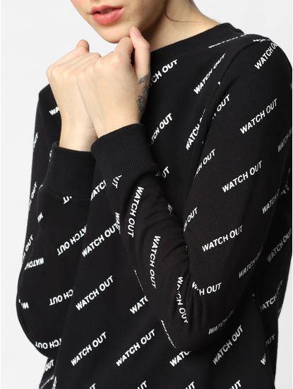 Black All Over Print Sweatshirt