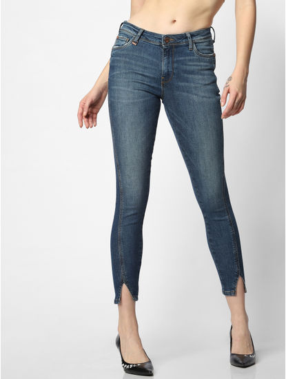 Blue Mid Rise Front Cut Skinny Jeans
