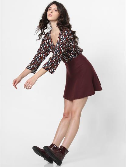 Burgundy Flared Mini Skirt