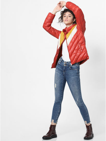 Light Red Colourblocked Puffer Jacket