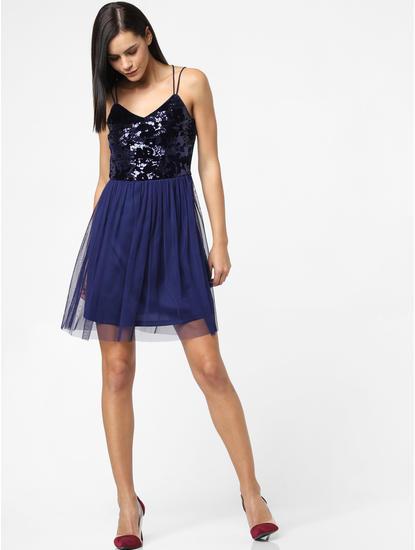 Blue Shimmer Mini Dress