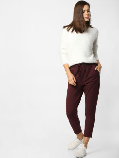 Burgundy Mid Rise Drawstring Pants