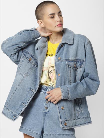 Blue Fur Detail Denim Jacket