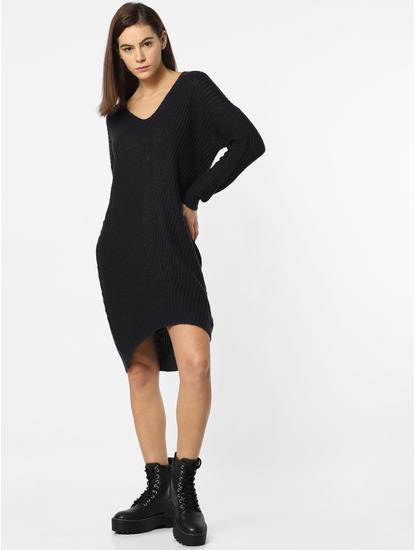 Navy Blue Asymmetric Shift Dress