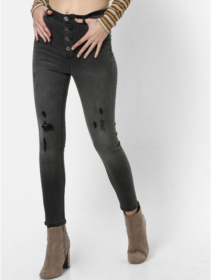 Black High Rise Washed Skinny Fit Jeans