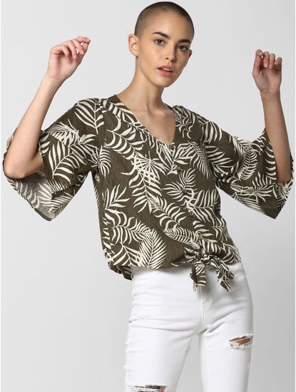 Dark Green All Over Print Knot Top