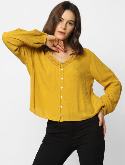 Yellow Button Down Textured Top