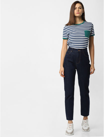 Blue Striped Patch Pocket T-Shirt
