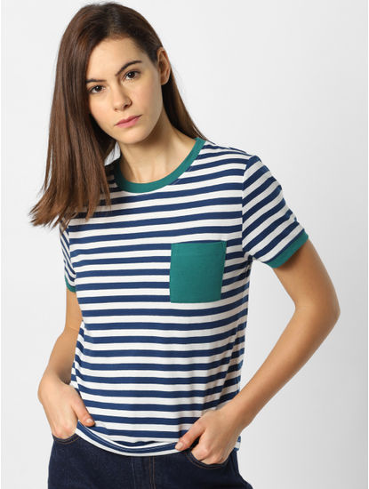 Blue Striped Patch Pocket T-shirt