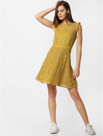 Mustard Lace Skater Dress