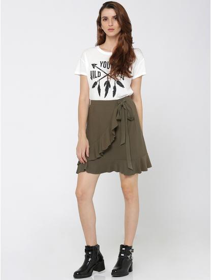 Green Ruffle Wrap Skirt
