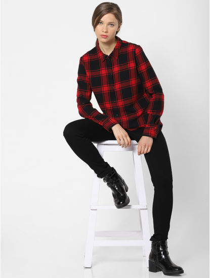 Red Check Loose Shirt