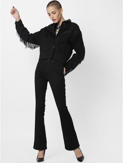 Black Fringe Detail Denim Jacket