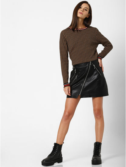Black Houndstooth Print Pullover