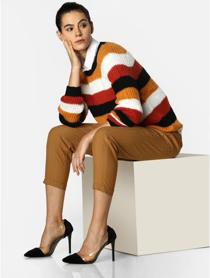 Orange Colourblocked Pullover