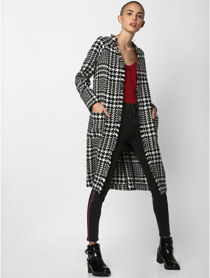 Black Houndstooth Print Long Coat