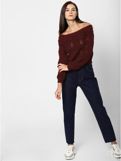 Burgundy Cut Work Off-Shoulder Pullover