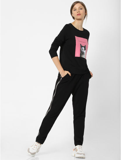 Black Cat Graphic Print Sweatshirt