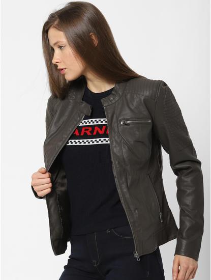 Olive Faux Leather Jacket