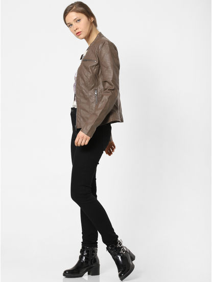 Chocolate Brown Faux Leather Jacket