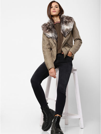 Taupe Fur Detail Faux Leather Jacket