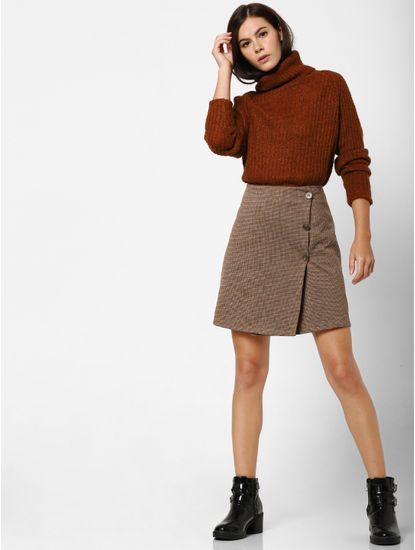 Brown Roll Neck Pullover