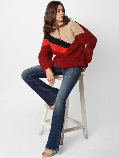 Brown Colourblocked Brushed Sweatshirt
