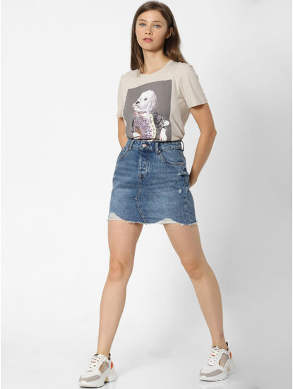 Cream Graphic Print T-shirt