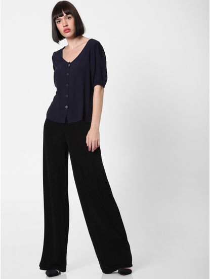Black High Rise Shimmer Straight Pants