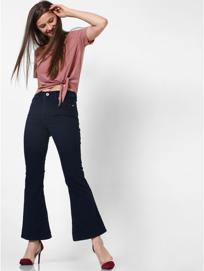 Pink Textured Front Knot Top