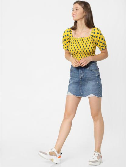 Yellow Polka Dot Smock Top