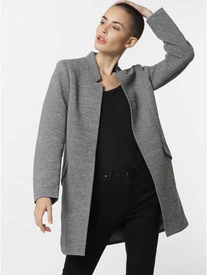 Grey Front Open Coat