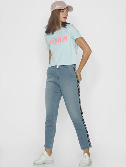 Light Blue Mid Rise Tape Detail Straight Fit Jeans