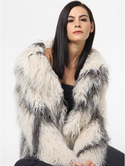 White Printed Faux Fur Jacket