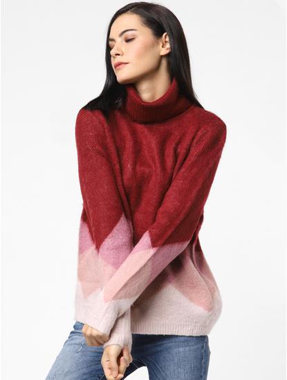 Maroon Colourblocked Roll-Neck Pullover
