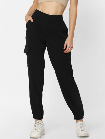 Black Mid Rise Patch Pocket Utility Pants