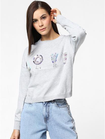 Grey Love Embellished Print Pullover