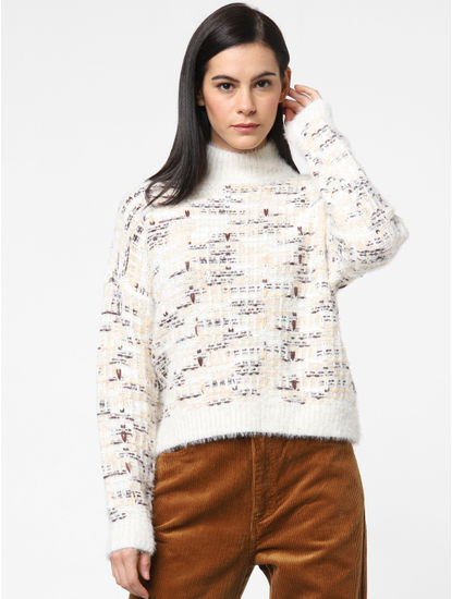 White Textured High Neck Pullover