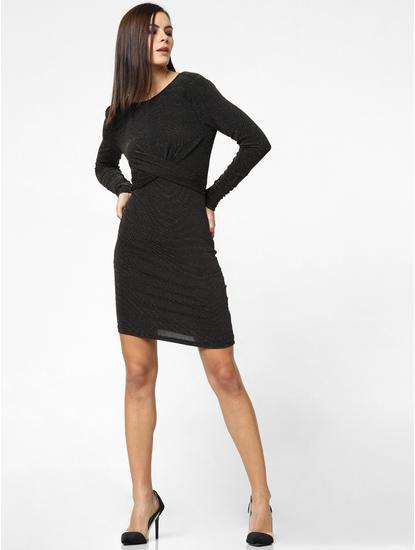 Black Shimmer Front Twist Bodycon Dress