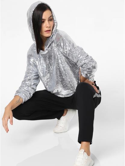 Silver Sequin Embellished Hooded Sweatshirt