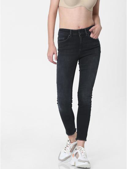 Black Mid Rise Frayed Hem Skinny Jeans